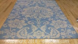 BLUE AND WHITE LARGE AREA RUG