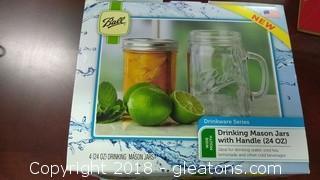 BOX OF DRINKING MASON JARS WITH HANDLES