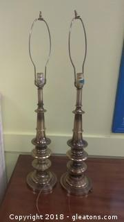 PAIR OF BRASS LAMPS NO SHADES