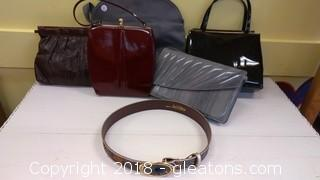 LOT OF PURSES AND PEACOCK FEATHER BELT