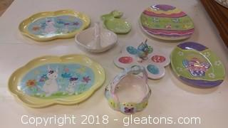 EASTER DECOR TRAYS AND BASKETS