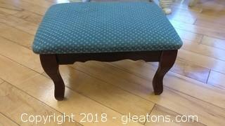 SMALL WOOD STOOL WITH BLUE AND WHITE CUSHION