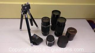 CAMERA STAND AND LOT OF  CAMERA LENSES