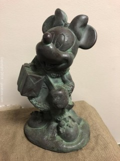 Disney Large Figurine, Minney Mouse Christmas, Copper Look