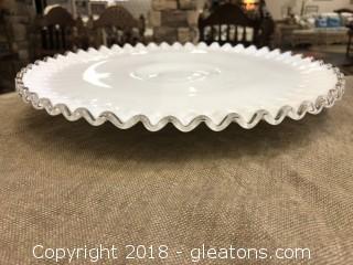Fenton Silver Crest Milk Glass Cake Plate