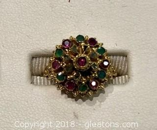 Emerald, Ruby and Diamond Gold Ring, Size 6