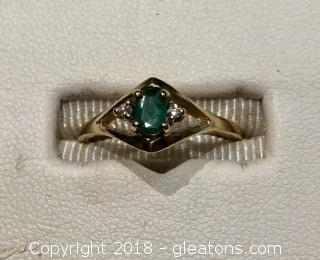 Emerald and Diamond Gold Ring, Size 6