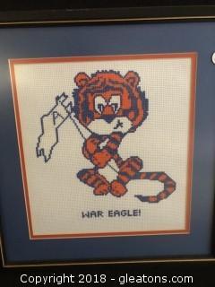 War Eagle - Tiger Custom Framed Crochet