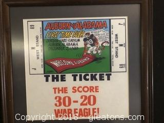 """Framed Replica """"The Ticket"""" Alabama at Jordan Hare First Time Ever by Phil Neel"""