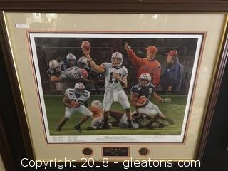 """Where Eagles Dare"" Framed Alan Zuniga 76 / 1000 - 2004 Auburn 13-0 Season"