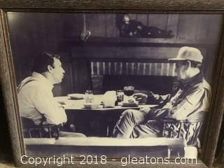 """Rare Framed Photo of Pat Dye and Bear Bryant in Deep Discussion at """"The Cabin"""""""