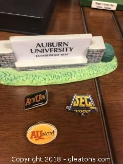 Auburn Sign from Collegiate Collectables and 3 Vintage Auburn Pins