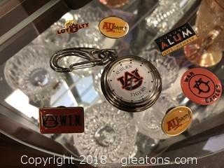 Vintage Auburn Pocket Watch & Vintage Pin Lot