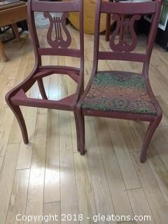 TWO LYRE BACK VINTAGE CHAIRS