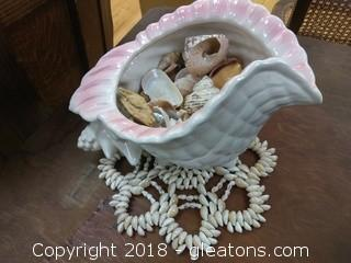 SEA SHELL DISH WITH SHELLS INSIDE
