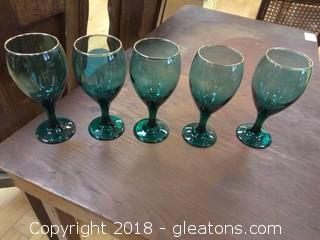 FIVE GREEN WINE GLASSES WITH GOLD TRIM