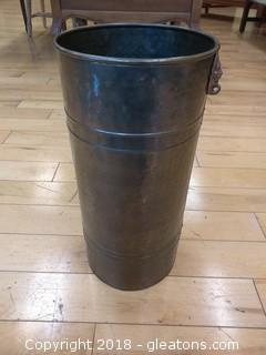 METAL TRASH CAN WITH LION HEAD ON EACH SIDE
