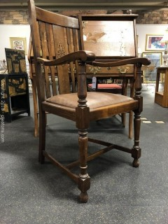 Beautiful Antique WIndsor Chair with Leather Seat