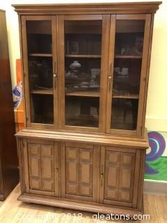 Vintage Oak China Cabinet - Good Condition