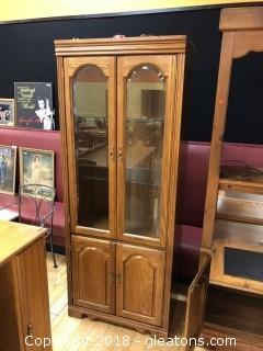 Tall Wood Display Cabinet - Lighting