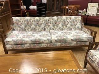 Custom Upholstered Floral Sofa - GREAT CONDITION - Wood Base - Custom