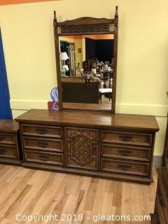Vintage Oak Dresser & Mirror - Perfect for Painting