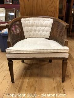 Vintage Wood & Rattan Bucket Chair - Good Condition