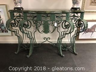 Marble Top, Wrought Iron Sofa Table