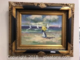 24x20 framed Acrylic on Canvas- Sailboats