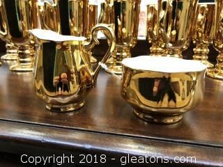 Hall Golden Glo, Creamer and Sugar Set