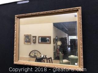 Large Mirror, Carved Wood Golden Floral