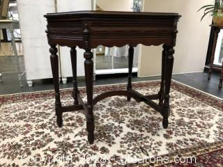 THIS ITEM SOLD  Wood Side Table with Carved Detail