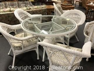 Wicker Glass Top Table & 4 Chairs - High End Set