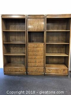 Vintage Drexel Consensus Lingerie and Jewelry Chest of Drawers with Two Matching Drexel Book Shelves