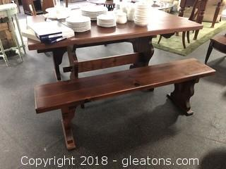 Farmhouse Pine Table & Benches - Great Condition