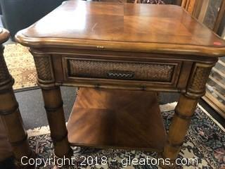 Pair of Haverty's Side Tables with Drawer & Bottom Shelf - Rattan Trim