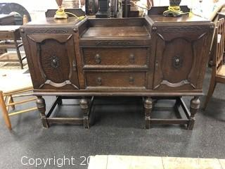 Amazing Antique Flamed Mahogany Buffet - Beautiful Detail