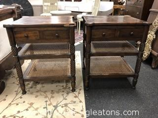 Mahogany Side Table with Great Detail and Rattan Shelves
