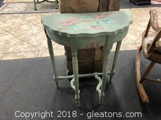 Hand Painted Accent Table - Pink Roses & Light Blue - Crescent Shape