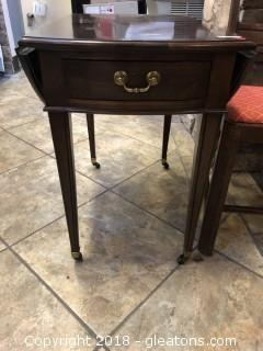 Ethan Allen Side Table with Rollers - Mahogany