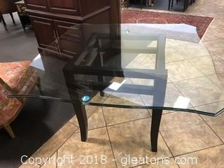 Glass Top Table with Wood Base - Seats 4