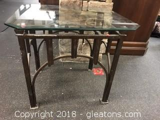 Iron Base Glass Top Side Table - Great Condition