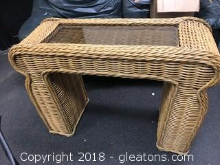 Rattan Sofa Table with Glass Top