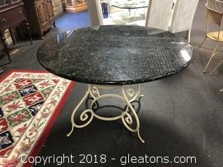 Iron Base Granite Round Dining Table - GREAT CONDITION