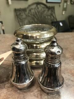 Sterling Silver Salt & Pepper Shaker with Coasters
