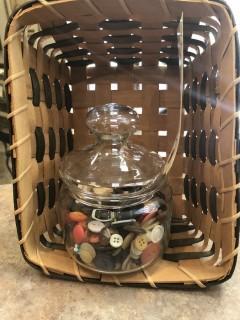 Jar of Buttons & Basket