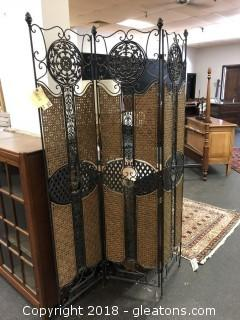 Nice Metal & Wicker Room Divider with Beautiful Detail