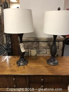 Two Modern Lamps - Brushed Metal -