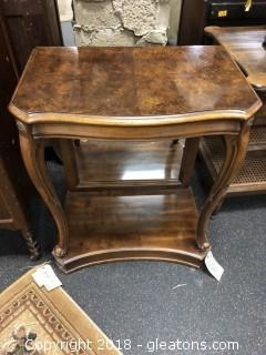 Upscale Side Table with Duncan Phyfe Feet - Burled Walnut Surface