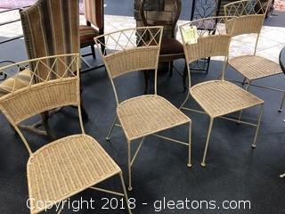 4 Metal & Wicker Chairs - Tan
